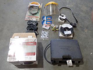 Qty Of Welding Accessories Includes: Miller Spoolmate 100 Wire Feeder, Lincoln 3350 Auto Darkening Helmet, Workhorse Face Shields, Blueshield Welding Wire, Regulator, Contact Tips And Misc Supplies