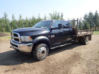 2017 Dodge Ram 5500 Crew Cab 4X4 Flat Deck Truck C/w 6.7L Cummins Turbo, Diesel, A/T, 11ft X 8ft Deck, Storage Box And 225/70 R19.5 Tires. Showing 91,169kms. VIN 3C7WRNFL5HG609450