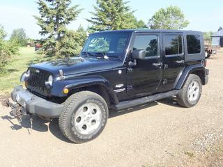 2009 Jeep Wrangler Unlimited Sahara C/w 3.8L V6, A/T, 4X4, SMI Tow Breakaway System, Removable Roof, Roadmaster Falcon 5250 Towing System, SMI G-Force Brake Controller And 255/70 R18 Tires. Showing 190,520kms. VIN 1J4GA59149L788856