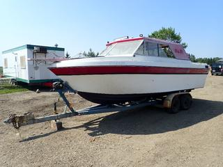23ft X 8ft Campion Cabin Cruiser Boat w/ Volvo Penta 5.7L Inboard Engine And Leg. SN ZB171254M791 C/w Tandem Axle Boat Trailer w/ Powerwinch Vehicle Winch, Surge Brakes And ST215/75 R14 Tires. *Note: Engine And Frame Disassembled On Boat, Running Condition Unknown, Unable To Verify VIN On Trailer*