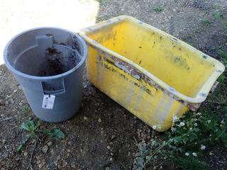 40in X 28in X 20in Mud Masonry Bucket C/w (1) Garbage Can