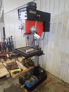 2017 Modern Model DP-925GAD-B 3-Phase Drill Press w/ 22in X 18 1/2in Platform And 1/32-5/8in Chuck C/w Coolant Pump And Vise. SN F1704053