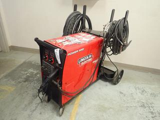 Lincoln Electric 350MP Single Phase MIG And Stick Welder C/w Cable, Unused 30ft Push Pull Aluminum Gun And Qty Of Unused Lincoln Magnum Contact Tips, Gas Diffusers And Nipples To Fit Push Gun. SN U111060614