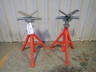 (2) Ridgid VJ-98 2500lb Cap. Adjustable Pipe Stands