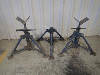 Qty Of (3) Adjustable Pipe Stands *Note: (1) Has No Head*