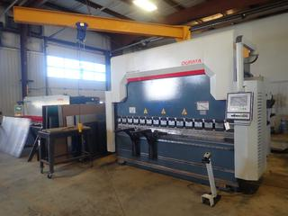 2017 Durma AD-R30135 150US-Ton 3050 X 135-Ton Cap. Press Brake w/ 265mm Stroke, 4500mm Length, 1900mm Width, 2900mm Height, 3843PSI Max Pressure C/w Durma DT-10 Programmable Control Unit, 15kw 220/460V 3-Phase Motor Siemens 3SE2 Foot Controller, (2) 24in X 2.5in Platforms and Approx. 12ft(L) X 11ft(H) Jib Crane w/ Powerfist 1320lb Electric Cable Hoist. SN 73231712464 *Note: Buyer Responsible For Load Out*