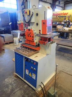 2012 Modern IW-50K 220V Single Phase Fabmaster Hydraulic Iron Worker C/w SSUPOU Foot Controller And Qty Of Punches And Dies. SN 12097381