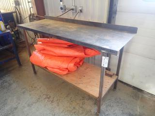 6ft X 2ft X 40in Steel Top Work Bench w/ Plywood Shelf *Note: Contents Not Included, Item Cannot Be Removed Until September 17th Unless Mutually Agreed Upon*