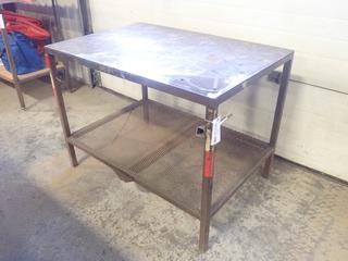 48in X 33in X 36in Steel Work Bench w/ Grating Shelf *Note: Item Cannot Be Removed Until September 17th Unless Mutually Agreed Upon*
