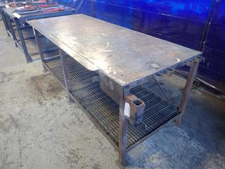 94in X 36in X 36in Steel Work Bench *Note: Item Cannot Be Removed Until September 17th Unless Mutually Agreed Upon*