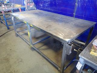 96in X 48in X 38in Steel Work Bench *Note: Item Cannot Be Removed Until September 17th Unless Mutually Agreed Upon*