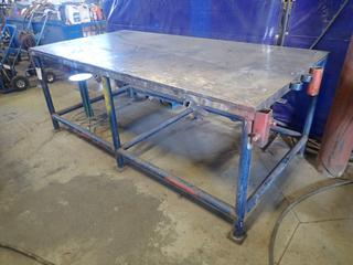96in X 48in X 36in Steel Work Bench C/w Stool *Note: Item Cannot Be Removed Until September 17th Unless Mutually Agreed Upon*