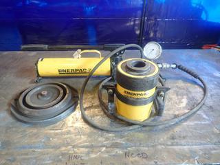 Enerpac Ultra P80 Hydraulic Hand Pump C/w Enerpac Hydraulic Cylinder, Gauge And Hose