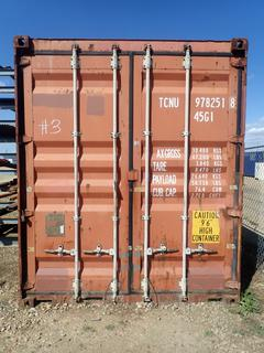 40ft Storage Container w/ 9ft 6in Height C/w Steel Shelving *Note: Contents Not Included, Steel Rack Outside Not Included, Item Cannot Be Removed Until September 18th Unless Mutually Agreed Upon*