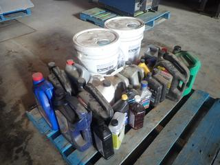 Qty Of Assorted Oils, Antifreeze, Diesel Fuel Conditioner, Power Steering Fluid And (1) Unused 5Gal Of 15W-40 Heavy Duty Oil