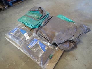 (1) 10ft X 12ft And (1) 12ft X 24ft Powerfist Tarps C/w (2) Unknown Size Tarps
