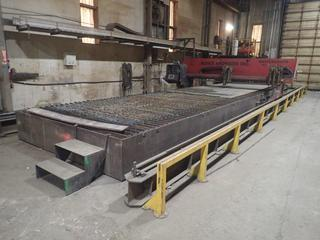 2006 Koike Aronson MGM2500 CNC Plasma Cutting System, 2500 mm Capacity, 46'x117' Table, 3 Ph, S/N 41899, Burny Kaliburn 10LCD Plus CNC Controller, Hypertherm HPR260 Hyperformance Plasma Cutter, HP21 Gas Console, Ignition Console, Buyer Responsible For Loadout.