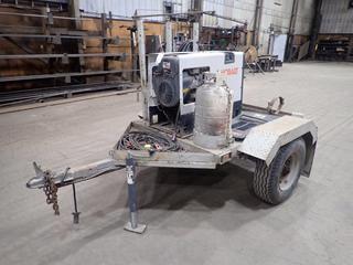 "Hobart Champion 10,000 Watt Generator 230A, DC/CC Welder Robin EH65 22 HP Motor, 1 Phase, 7' S/A Welding Trailer c/w 2"" Ball Hitch, 8-14.5LT Tires, grounding Cable, 30LB Tank,"
