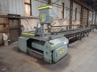 """Hyd-Mech V-18 Vertical Band Saw c/w 240V, 3 Phase, 2-5HP, 35""""x26"""" up to 60 Degree Tilt Table, (1) 20'x26""""x38"""", (1) 42""""x26""""x38"""" Roller Stands, 20"""" Rollers, S/N J109845. Note: Buyer Responsible For Load Out."""
