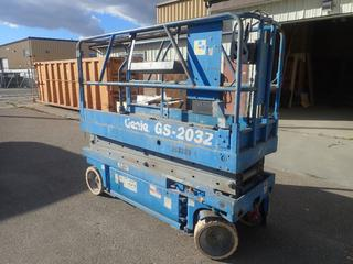 2000 Genie GS-2032 800lb Cap. Electric Scissor Lift w/ 20ft Max Platform Height. Showing 684hrs. SN 29486 *Note: Has A Charging Issue*