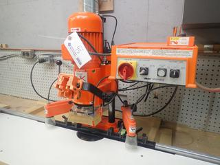 1998 Blum CF5794 220V Single Phase Minipress Hinge Drill w/ 0.9kw Motor And Hold Down Clamps C/w Qty Of Drilling Bits