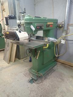 1985 Kikukawa KR-B Overhead Router C/w Canwood Model AP/34 Adjustable Motorized Roller System And 3-Phase Foot Brake. SN 6385-9 *Note: Buyer Responsible For Disconnect And Loadout*