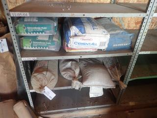 Qty Of (4) Bags Of Sand C/w (2) Bags Of Versabond Thin Set Mortar, (1) Bag Of Cement All And (1) Bag Of Self Leveling Underlayment *Note: Shelving Unit Not Included*