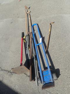 (1) Hand Tamper, Pry Bars, Hand Truck And Assorted Tools