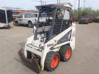 2004 Bobcat Model 463 F-Series Compact Skid Steer Loader C/w Kubota D1005-E Diesel, Aux Hyd, H-Drive Steering w/ Foot Bucket Controls And Bobcat Interlock Control System. Showing 1948hrs. SN 522212633 *Note: Rear Glass Missing, No Door, No Windows*
