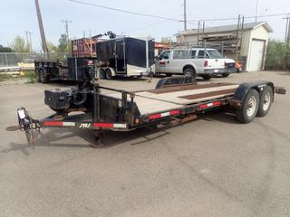2015 SWS T/A 20ft Tilt Deck Trailer C/w Pintle Hitch, 14,000lb GVWR, 16ft Tilt Deck, Warn VR 12,000 Electric Winch w/ Controller, Battery Rack, 27in  X 13in X 12in Storage Box, Pro Series Breakaway System And 235/80 R16 Tires. VIN 4UGFH2026FD027287