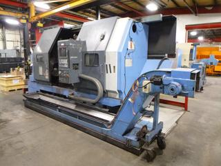 1996 Mazak Slant Turn CNC Machine, Model SLANT50NX-2000U, SN 124494, With Mayfran Chip-Tote Chip Conveyor, Includes 3 Jaw Chuck, Multi-Tool Turrent, 3Phase 200V. *Note: Electrical Issues* *Buyer Responsible For Loadout*