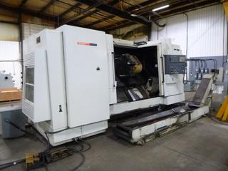 2007 Hwacheon CNC Machine, Model HI-TECH 7026, SN M074355A1IC, High Ridgid And Productive Turning Center With Chip Conveyor, Includes 3 Jaw Chuck, Multi-Tool Turrent, *Buyer Responsible For Loadout*