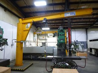 SWF Jib Crane With SWF Hoist, 500 Kg. Capacity, 17 Ft. (L) x 12.5 Ft. (H) *Last Inspected Feb. 2021* *Buyer Responsible for Dismantling And Loadout*