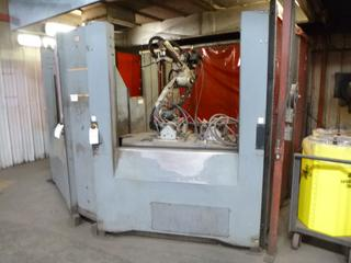 2010 Motoman Robotic Arm Welder Model HP 20D, 3-Phase, 480 V, SN RH9630-0707-5, Includes: Control Panel, Jigs, Automatic Cleaner, Safety Cage, And (2) Miller Axcess 300 Welders, *Last Calibrated Dec. 2019* *Buyer Responsible for Dismantling And Loadout*