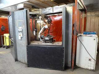 Motoman Robotic Arm Welder Model HP 20, 3-Phase, 480 V, Includes: Control Panel, Jigs, Automatic Cleaner, Safety Cage, And (2) Miller Axcess 300 Welders, *Last Calibrated Dec. 2019* *Buyer Responsible for Dismantling And Loadout*