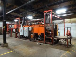 Annealing Oven, 36 Ft., Natural Gas, 3-Phase, With Hydraulic Panel, Turbo Blower, Burner Panel, Flame-Out Alarm, Conveyor System, (2) Air Compressors, Condenser (Running Condition Unknown), Includes Jet 1-Ton Electric Hoist And Track *Buyer Responsible for Dismantling And Loadout*