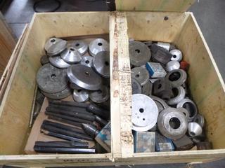 Crate of Various Jaws and Tools for Okuma and Mazak CNC Machines