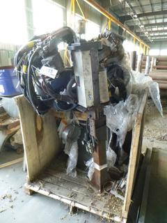 Yashawa Robotic Arm Welder, Model MDG-12M, Includes: Control Panel, Jigs, Automatic Cleaner, Safety Cage, And (2) Miller Welders *Note: In Parts In Crate*