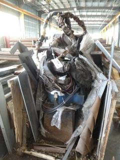 Yashawa Robotic Arm Welder, Includes: Control Panel, Jigs, Automatic Cleaner, Safety Cage, And (2) Miller Welders *Note: In Parts In Crate*
