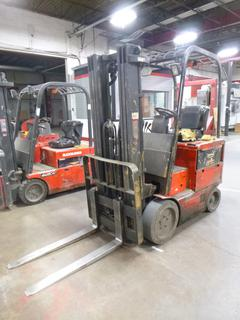 Raymond 470 C50HM, Triple Stage Forklift, Showing 12,084 Hrs., 48 V, 5,000 lb. Capacity, 42 In. Forks, SN 470-07-HM10624, *Note: Runs Rough, Reverse Issues*
