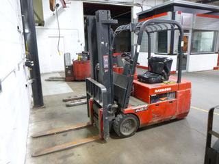 Raymond 445 C40TT, Triple Stage Forklift, Showing 5,028 Hrs., 48 V, 4,000 lb. Capacity, 42 In. Forks, SN 445-13-11695, *Note: Does Not Run, Hydraulic Leak*