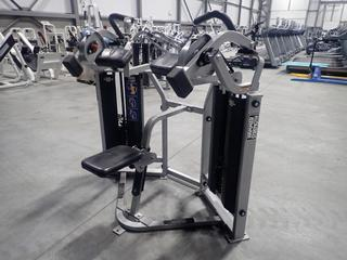 Hammer Strength MTS Bicep Curl Machine w/ 200lb Max Weight Cap. SN TBC010281 *Note: Tear In Seat And Chin Rest*