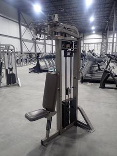 Life Fitness PSFLYSE PRO 2 Pectoral Fly/Rear Deltoid Press Machine w/ 310lb Max Weight Cap. *Note: Has Tear On Top Of Chair*