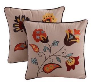 """Zahara Embroidered Cotton Throw Pillows 18x18"""", Set Of 2"""