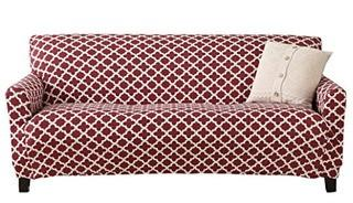 Brenna Collection Basic Strapless Slipcover. by Home Fashion Designs Brand. (Sofa, Burgundy)
