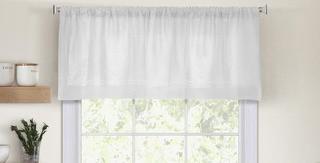 """Cameron Kitchen Tier Window Valance 60x15"""" White"""