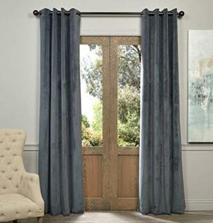 (2)Signature Grommet Blackout Velvet Curtain, Natural Grey, 50 X 84