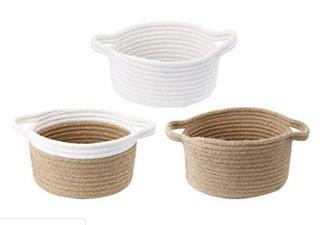 A&B Home 40306 Jute Baskets with Cotton Trim, Set of 3