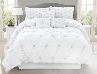 Siya 7 Piece Comforter Set Double, White