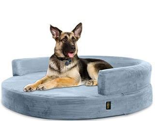 Fala Deluxe Orthopedic Memory Foam Bolster Dog Bed  5'' H x 36'' W x 36'' D Grey